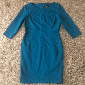 ADRIANNA PAPELL Petites Green 3/4 Sleeves Dress